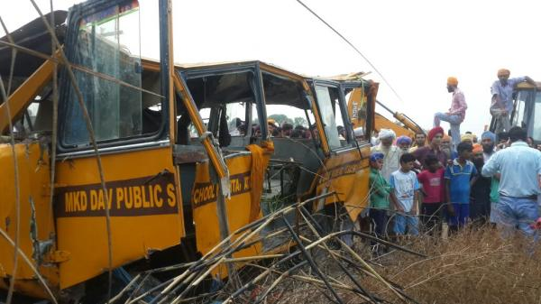 Seven children killed as school bus falls in canal in Amritsar