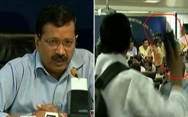 Shoe Thrown At Arvind Kejriwal During Odd-Even Announcement