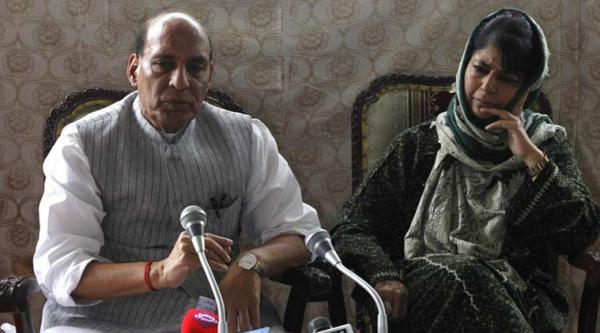Mehbooba Mufti walks out of press conference as Rajnath tries to pacify her